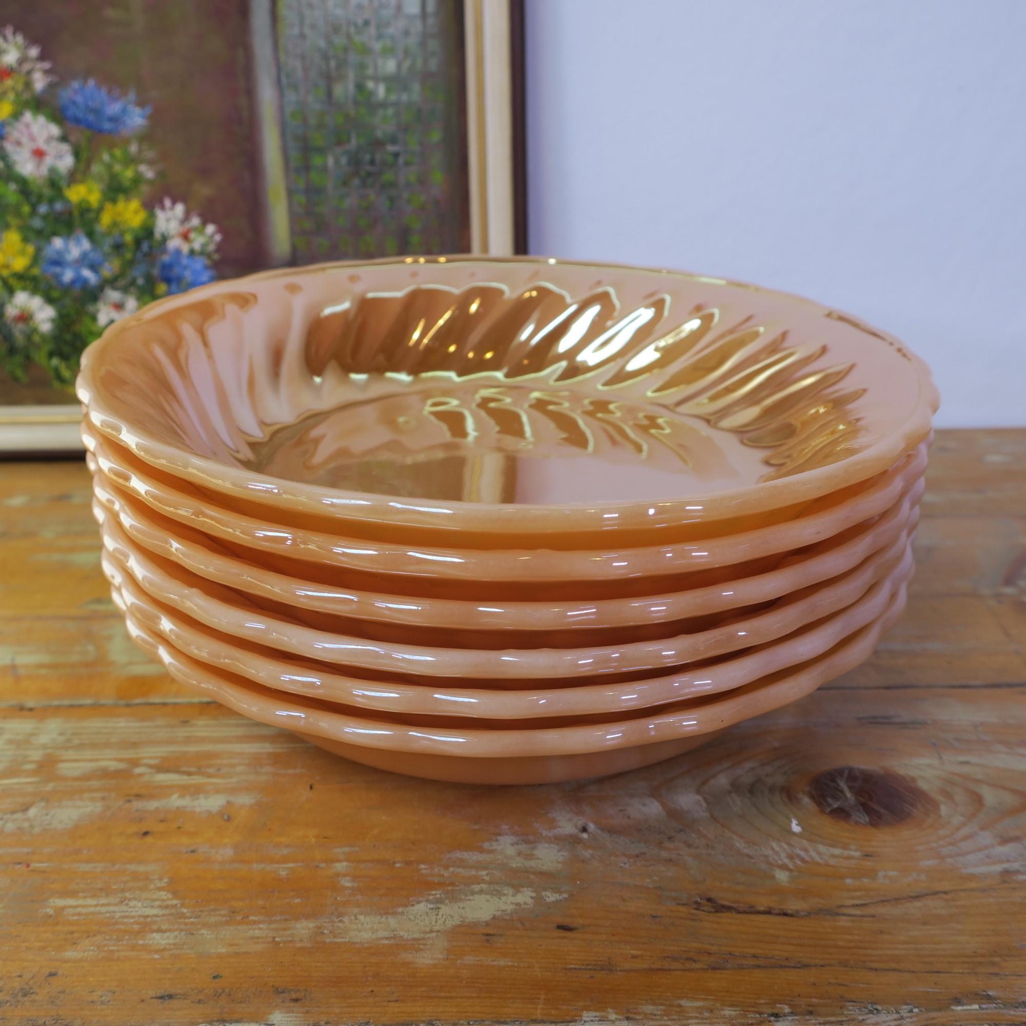 Vintage 70s Anchor Hocking Fire King Peach Luster Swirl Deep Plates Set Of 6 Retroriek